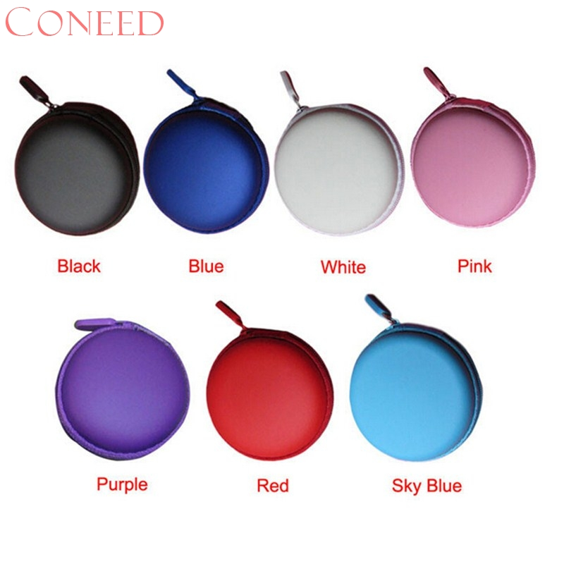 CONEED Charming Nice Colourful Portable Mini Round Hard Storage Case Bag for Earphone Headphone SD TF Cards Travel f10x