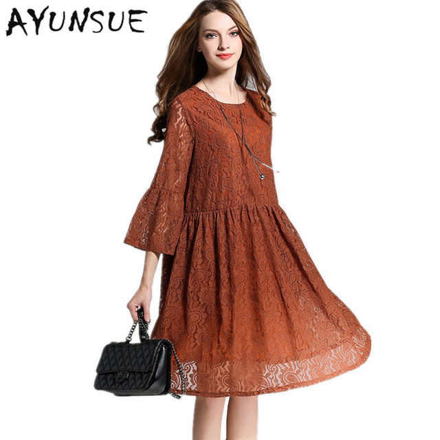 European And Amerian Style Brown Women Dress Lace Hollow Spring