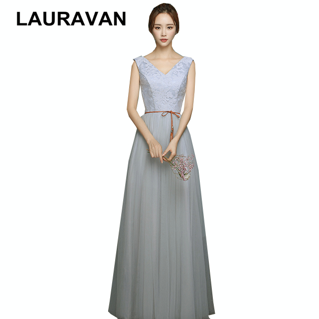 Elegant New Arrival Occassion Sexy And Hot Party Long Grey V Neck Dress Girls Pageant Bridesmaid Dresses Ball Gown 2019