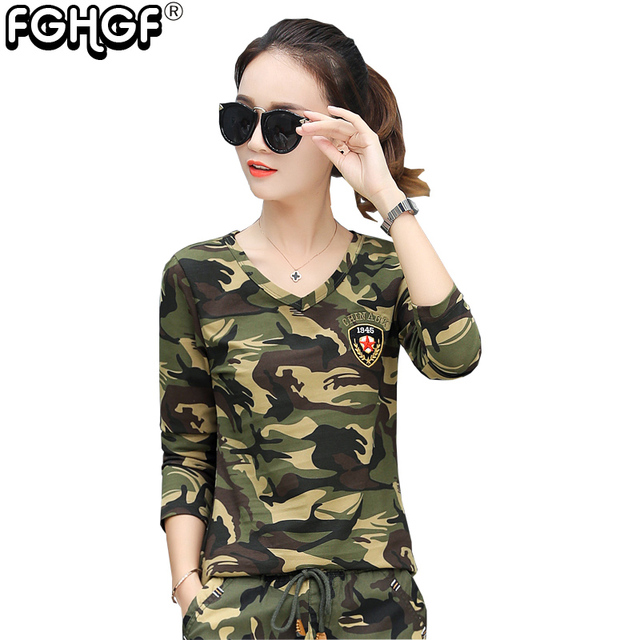 8e7c0ea08dde21 Military style Camouflage t-shirt Female Long-sleeved v neck Cotton Elastic T  shirts