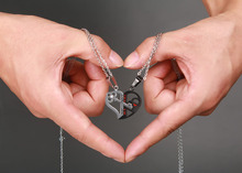 Heart Key Pendant Couple Crystal Necklace