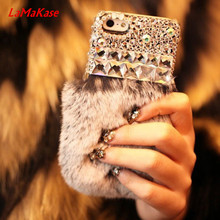 LaMaKase Bling Crystal Diamond Luxury Rabbit Fur Furry Warm Case Cover For iPhone4S 5S 5C 6/6P 7/7P and samsungS3 4 5 S6 S7E S8P