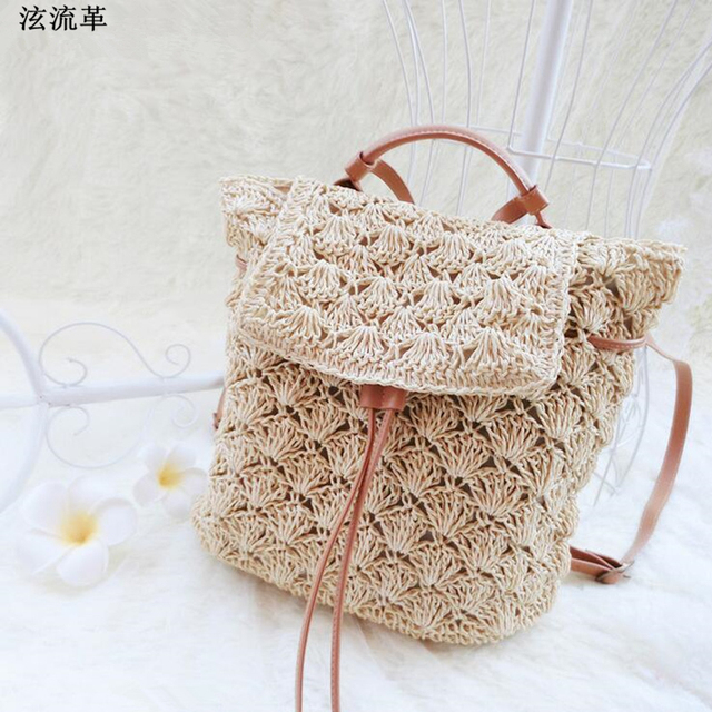 Korea An Style Summer Women Straw Backpack Handmade Rattan Beach Bag Vines Knitting