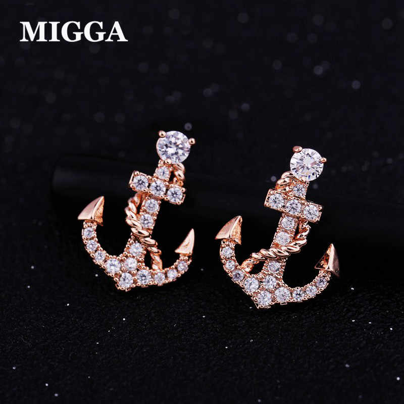 MIGGA Punk Pirate Anchor Cubic Zirconia Stud Earrings Rose Gold Color CZ Crystals Women Girls Brincos