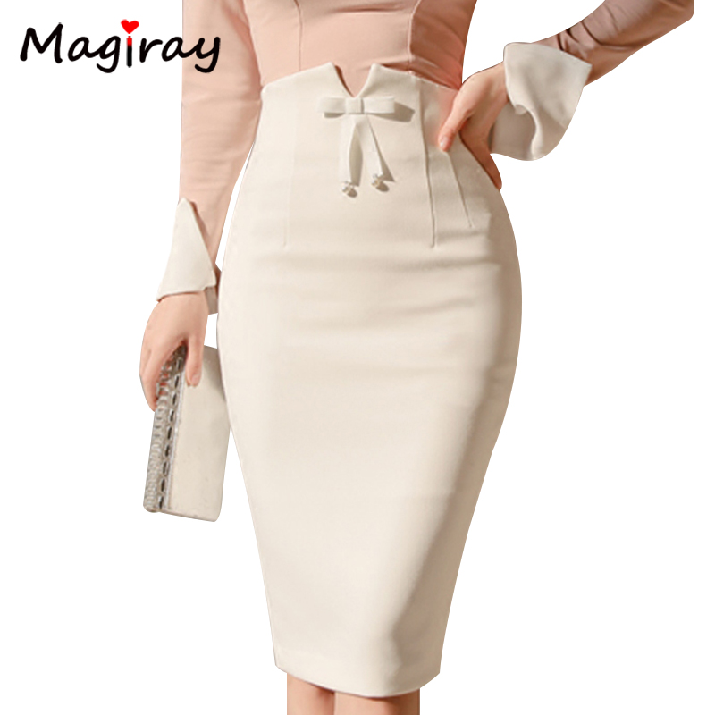 Magiray Harajuku High Waist Midi Skirt Women 2019 Summer Office Korean Elegant Split Back Sexy White Bodycon Pencil Skirt C343
