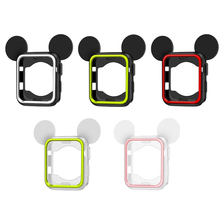 цена на OSRUI Case cover For Apple Watch Band 42mm 38mm Iwatch 3 2 1 protective frame Silicone Protection Mickey shell Accessories