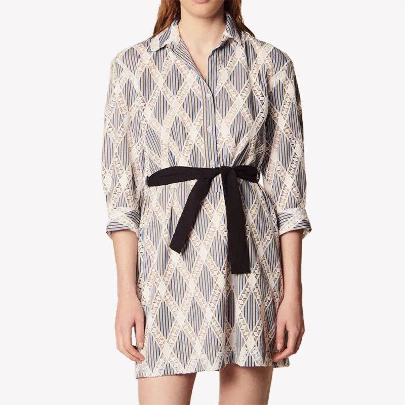 Vestido de mujer camisa corta de encaje camisa cuello vestido lazo en la cintura vestido-in Vestidos from Ropa de mujer    1