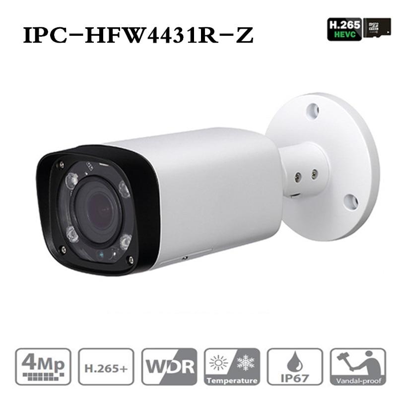 ahua IPC-HFW4431R-Z 4MP Night Camera 80m IR with 2.7~12mm VF lens Motorized Zoom Auto Focus Bullet IP Camera CCTV Security POE dahua 4mp poe cctv camera ipc hfw4431r z 2 8 12mm varifocal motorized lens english firmware ir network ip bullet camera