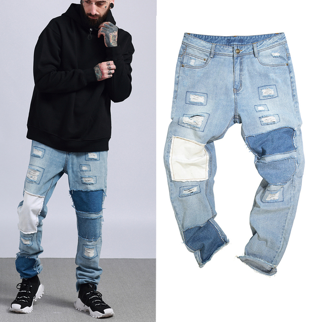 7340d147 2018 NEW justin bieber FOG Men Zipper ripped jeans HIP HOP Fashion Casual  skinny designer Patch
