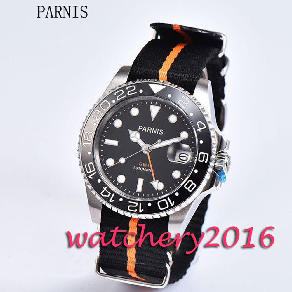 Fashion 40mm Parnis black dial white numbers GMT sapphire glass Automatic movement Men's Watch