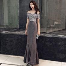 Sequins Female Celebrities Gowns Sexy One Shoulder Evening Dress Vestidos De Festa Longo Trum Mermaid Vestido De Noche Elegante