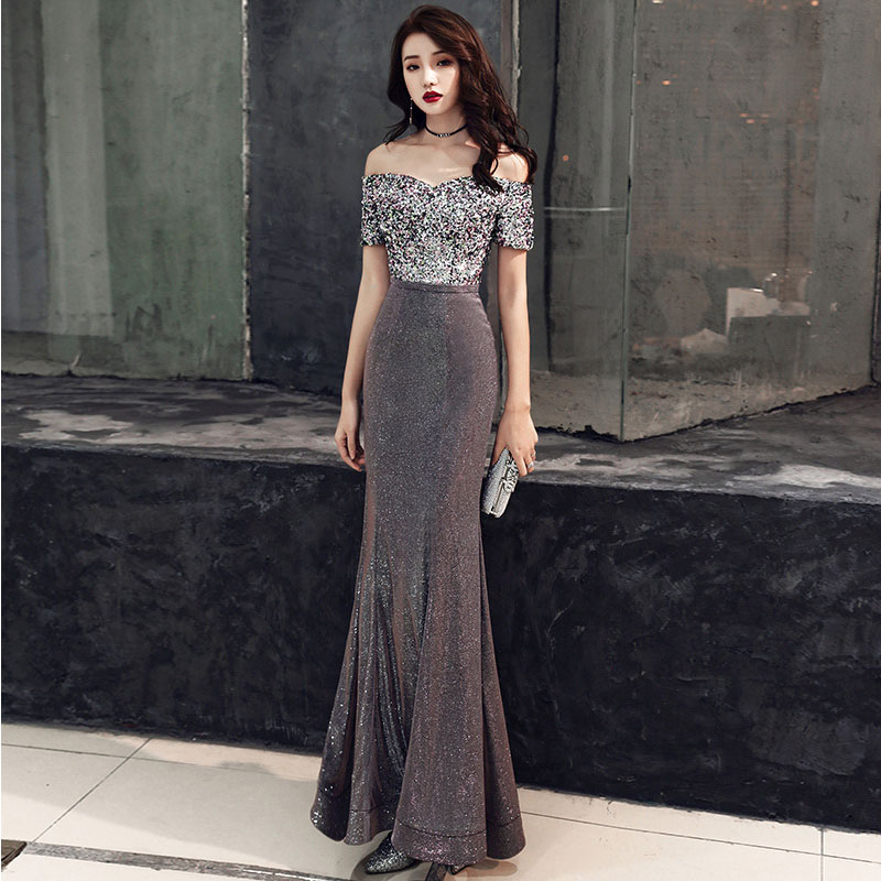 Sequins Female Celebrities Gowns Sexy One Shoulder Evening Dress Vestidos De Festa Longo Trum Mermaid Vestido De Noche Elegante