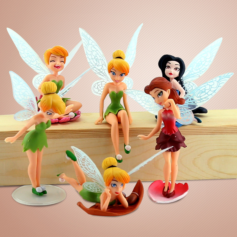 Hot Sale! 6pcs/set PVC Tinker Bell Fairies Princess Figures Doll Toy Cake Topper Kids Tinker Bell Fairies Toys For Children нож дл газонокосилки bosch rotak 32 li f 016 800 332
