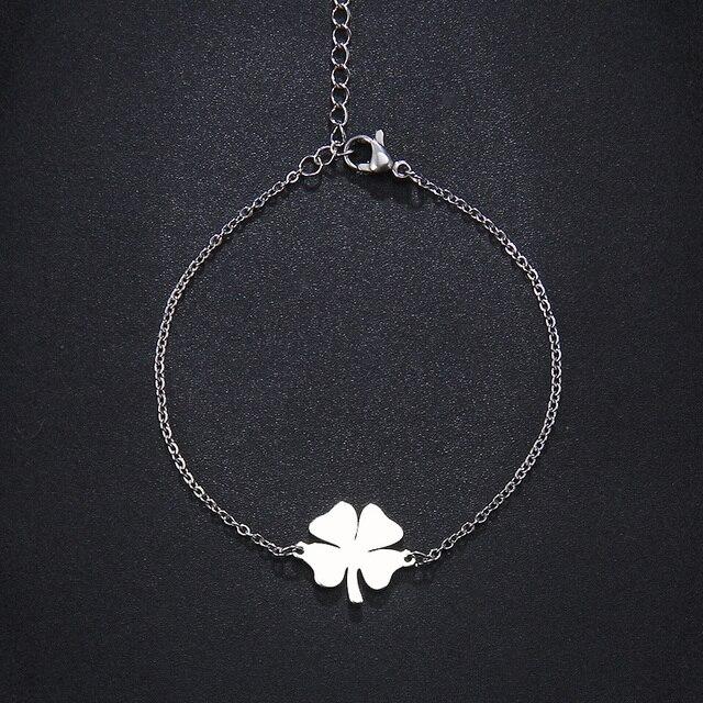 Женский и мужской браслет cacana clover золотистого серебристого