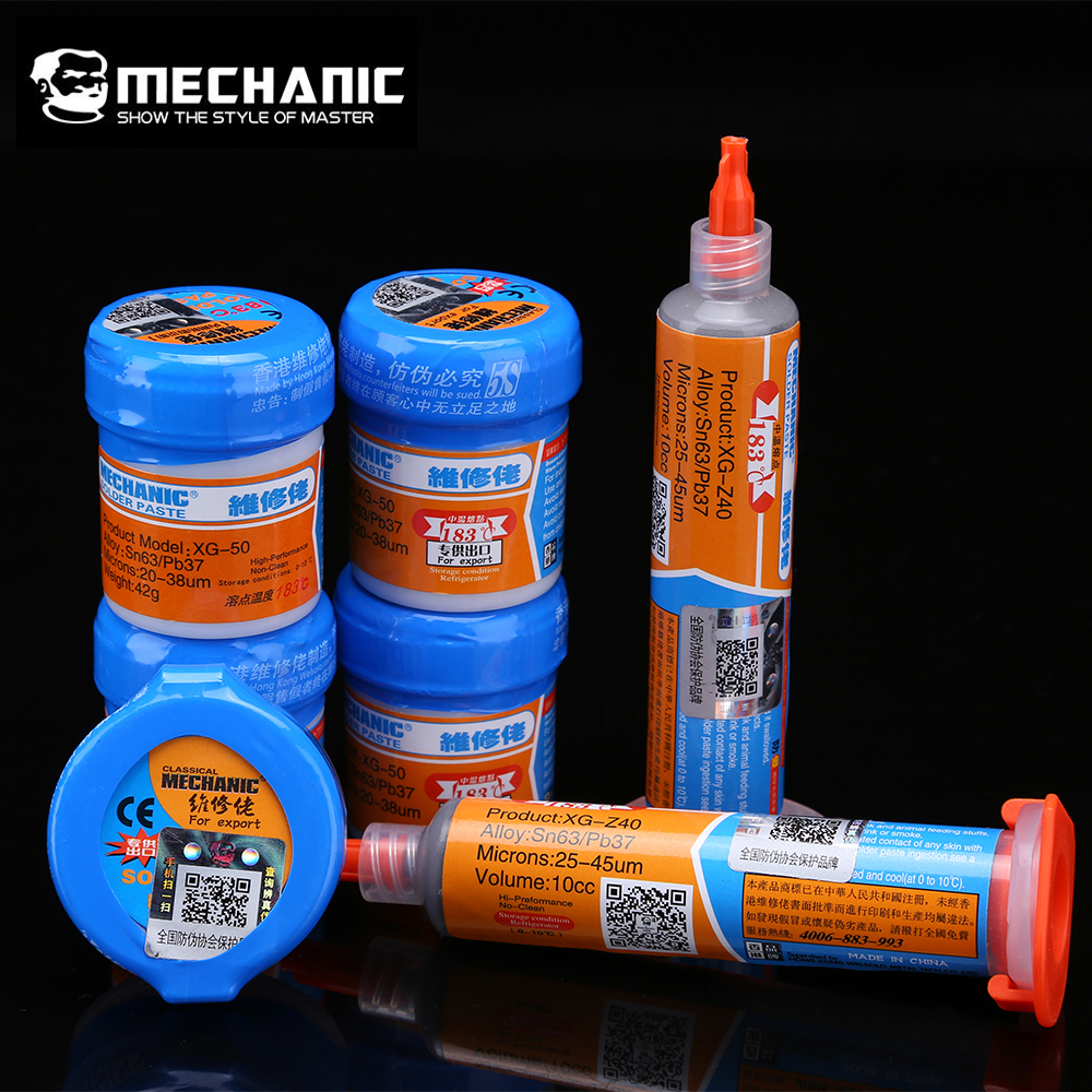 Original MECHANIC Solder Flux Paste Tin Cream SMD SMT BGA Tools Sn63/Pb37 25-45um Welding Paste Flux For Soldering