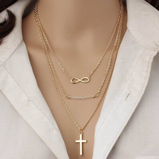 12PCS Lot Wholesale Cross Infinity Choker Layered Necklaces Catholic Gold  Color Long Pendant Halloween Handmade Jewelry 2c508d960