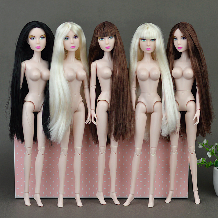 Original 12″ Nude Naked XINYI doll Queen Lisa Toy /14 Joint Flexible / Long Stright Bangs Hair Big Breast For Barbie Doll Gift