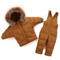 30 градусов России зимние теплые для маленьких девочек детская одежда рукав «летучая мышь» пуховик набор детей лыжные костюмы для мальчико