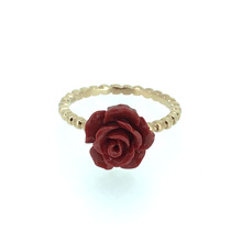 ANI 18K Rose Gold AU750 Women Wedding Ring Natural Red Coral Flower Fashion Lady Fine Engagement