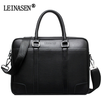 LEINASEN Fashion Leather Men Bag Famous Brand Shoulder Bag Messenger Bags Causal Handbag Business Laptop Briefcase