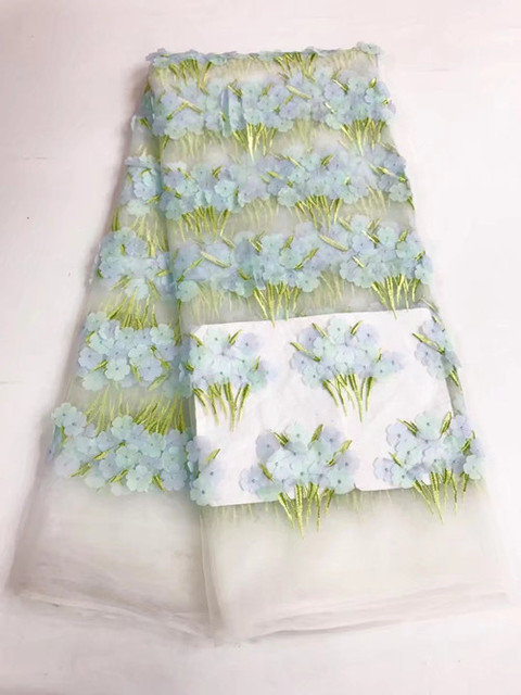 아프리카 레이스 직물 5 야드 아프리카 코드 레이스 직물 녹색 2017 고품질 흰색 코드 레이스 guipure 패브릭 드레스 JY06