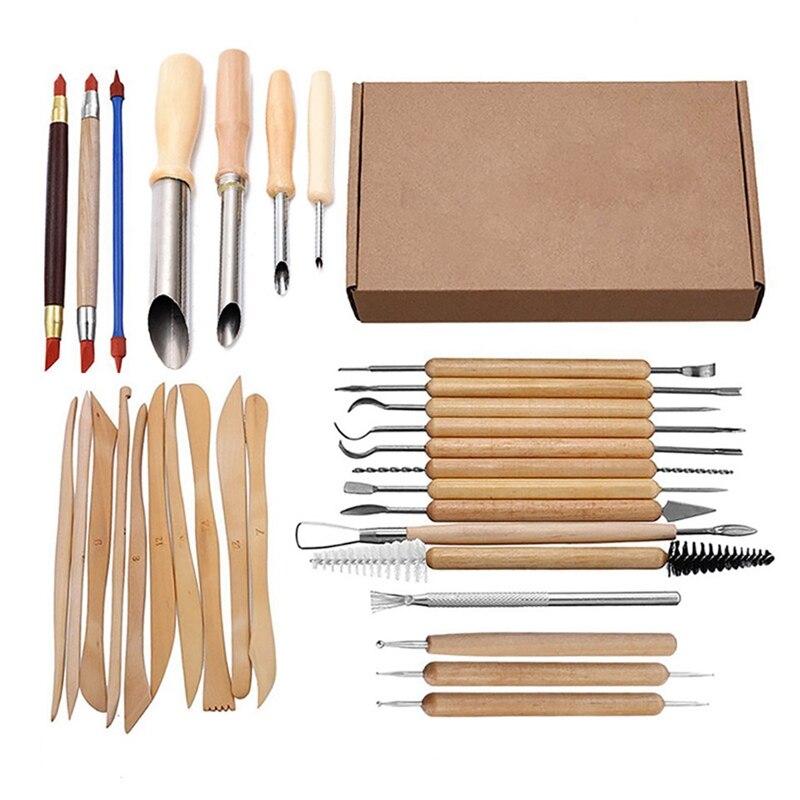SHGO HOT-31Pcs Arts Crafts Clay Sculpting Tools Set Carving Tool Kit Pottery & Ceramics Wooden Handle Modeling Clay Tools