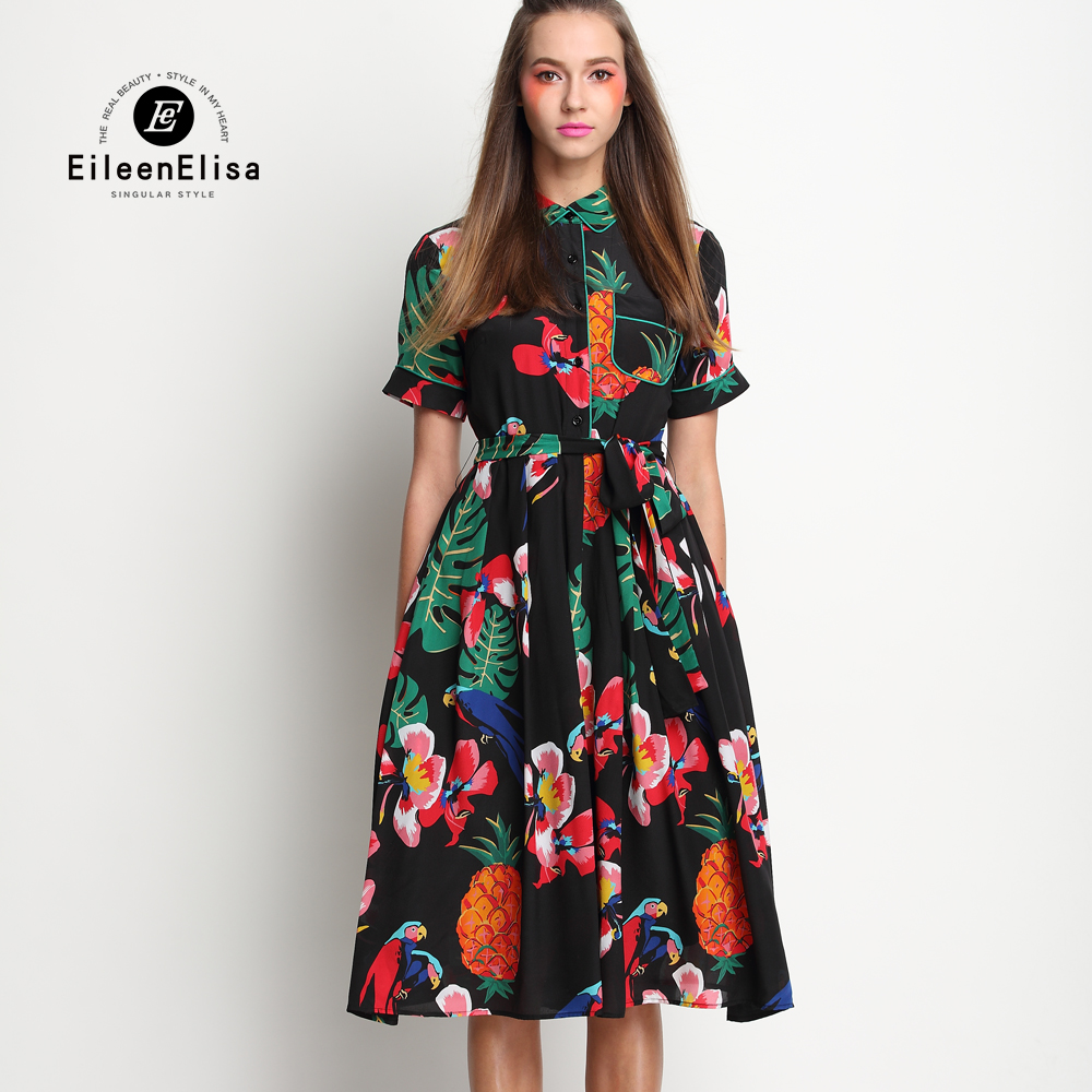 Runway Dresses 2017 Women High Quality Silk Dresses Printed Flower Designer Luxury Brand Dress Runway