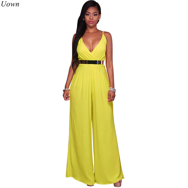 f5961f7ed1e Sexy Summer Casual Wide Leg Jumpsuit Deep V Neck Spaghetti Strap Women 2017  Backless Sleeveless Draped Beach Rompers Overalls