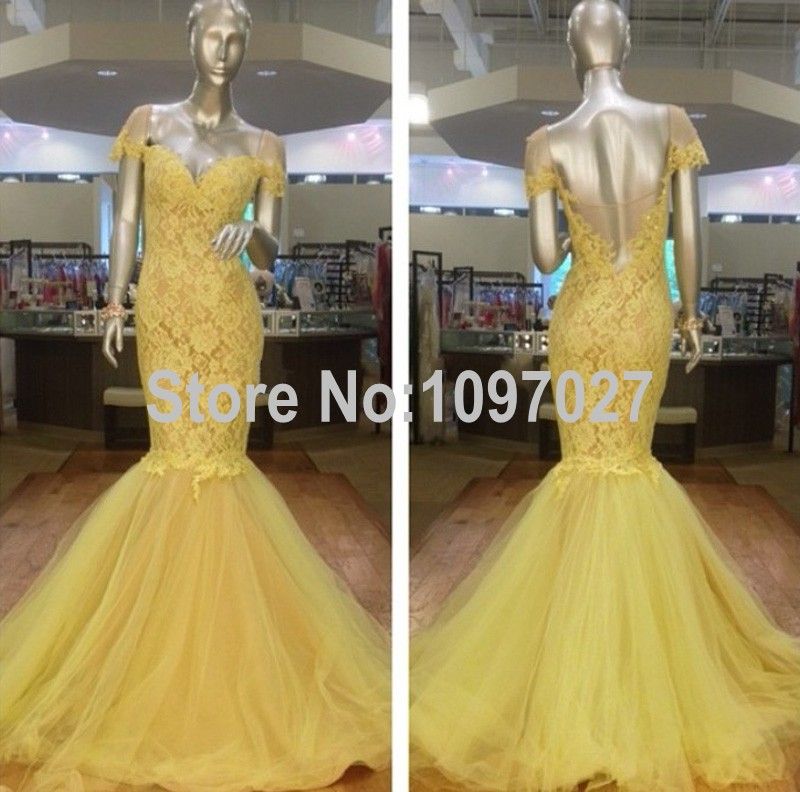 Mermaid Sweetheart Dress Party Evening Elegant Cap Sleeve Lace And Tulle Long Evening Dress Off The Shoulder MG1