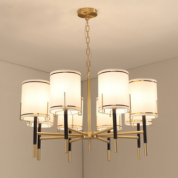 High-end  American style LED chandelier Fabric copper Chandelier Lighting for Restaurant hotel living room Chandeliers