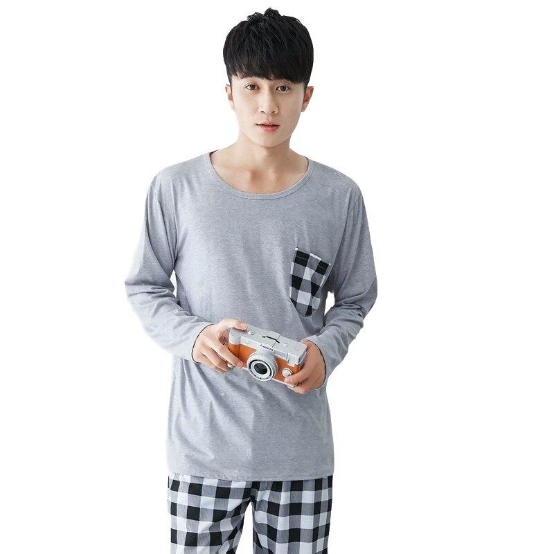 Pajamas Men Winter Lounge Long-Sleeve Home-Wear Cotton Thin Plus-Size