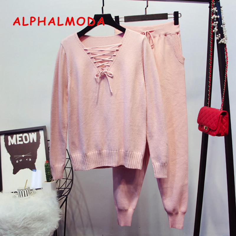 ALPHALMODA 2018 Women Winter Knitted Suits Lacing Up V-collar Long Sleeved Sweater + Knit Pencil Pants Female 2pcs Casual Sets