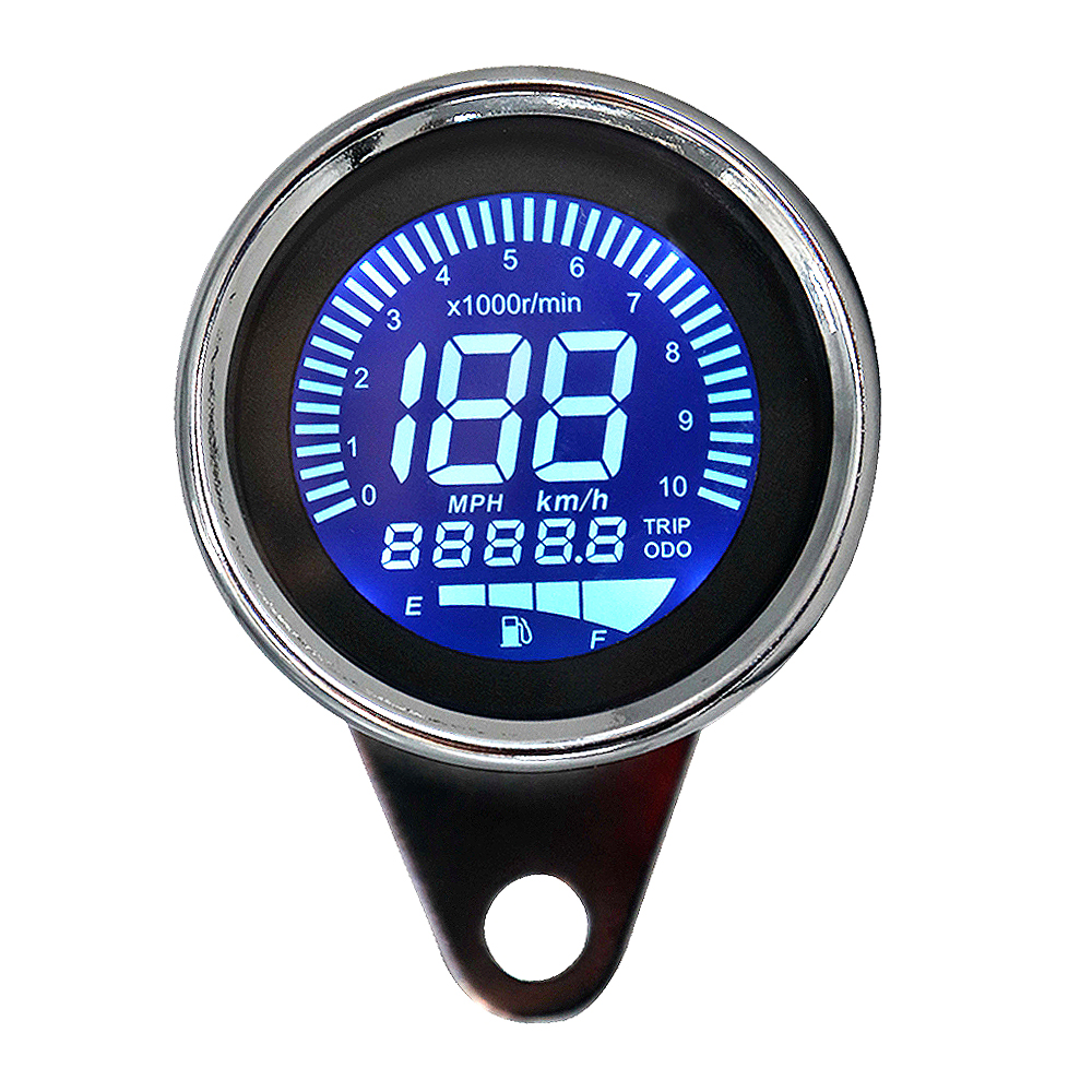 12V Universal Motorbike Motorcycle Instrument Display Oil Level Meter LCD Gauge Tachometer Motorcycle Digital Speedometer Sliver in Instruments from Automobiles Motorcycles
