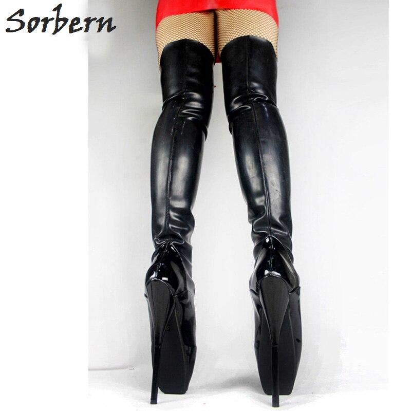 "Фото Sorbern Sexy Fetish 18CM Heel Devious Spike Heel Extreme 7"" High Heel Thigh High Boots Latex Blaet High Heel Boots For Woman"