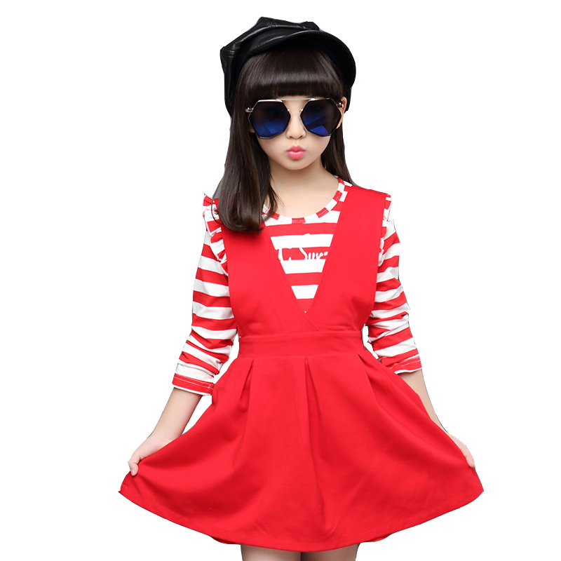 Girls suits autumn clothing set autumn children striped dress two piece 9 11 age baby girl clothes red shirt dress teenage kids 15 free shipping top striped dress children baby 3 pcs suit set girl s clothing sets girls sport suits chilren set