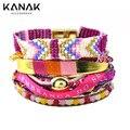 KANAK Ribbon Multilayer Wrap Bracelet For Women Leather Brazilian Bracelet Braided Beaded Bracelet Boho Ethnic Magnetic Summer