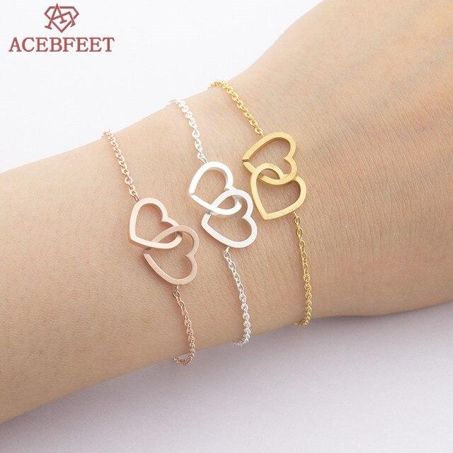 Acebfeet 2018 Double Heart Bracelet Women Jewelry Rose Gold Chain Bilezikler Statement Bijoux Stainless Steel