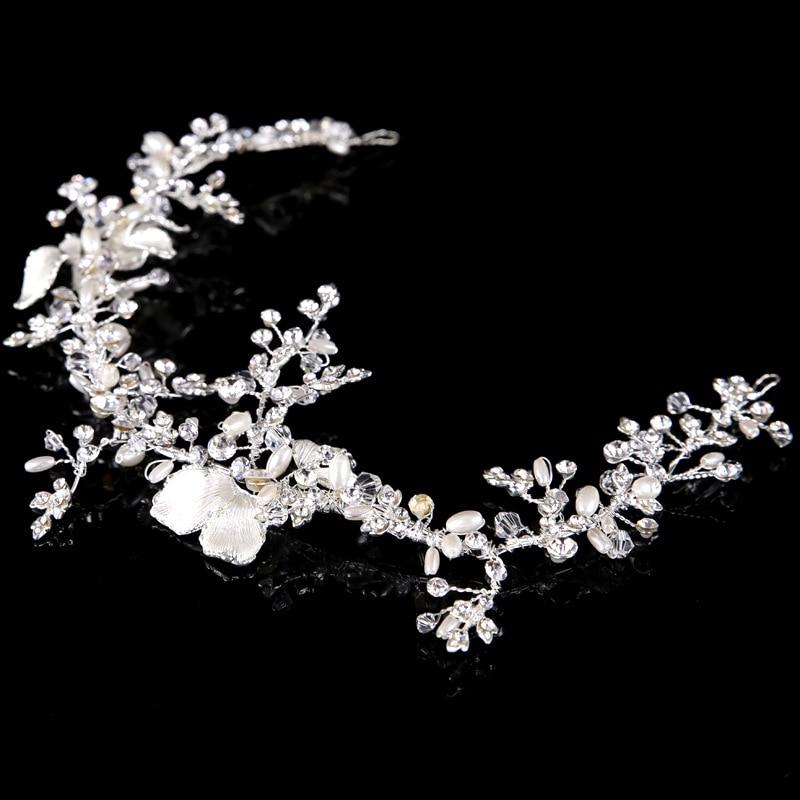 New Fashion Pearl Rhinestone Crystal Gold-Bow Headband - Bridal pearl Halo Headwear Wedding Bridesmaid Headpiece LB