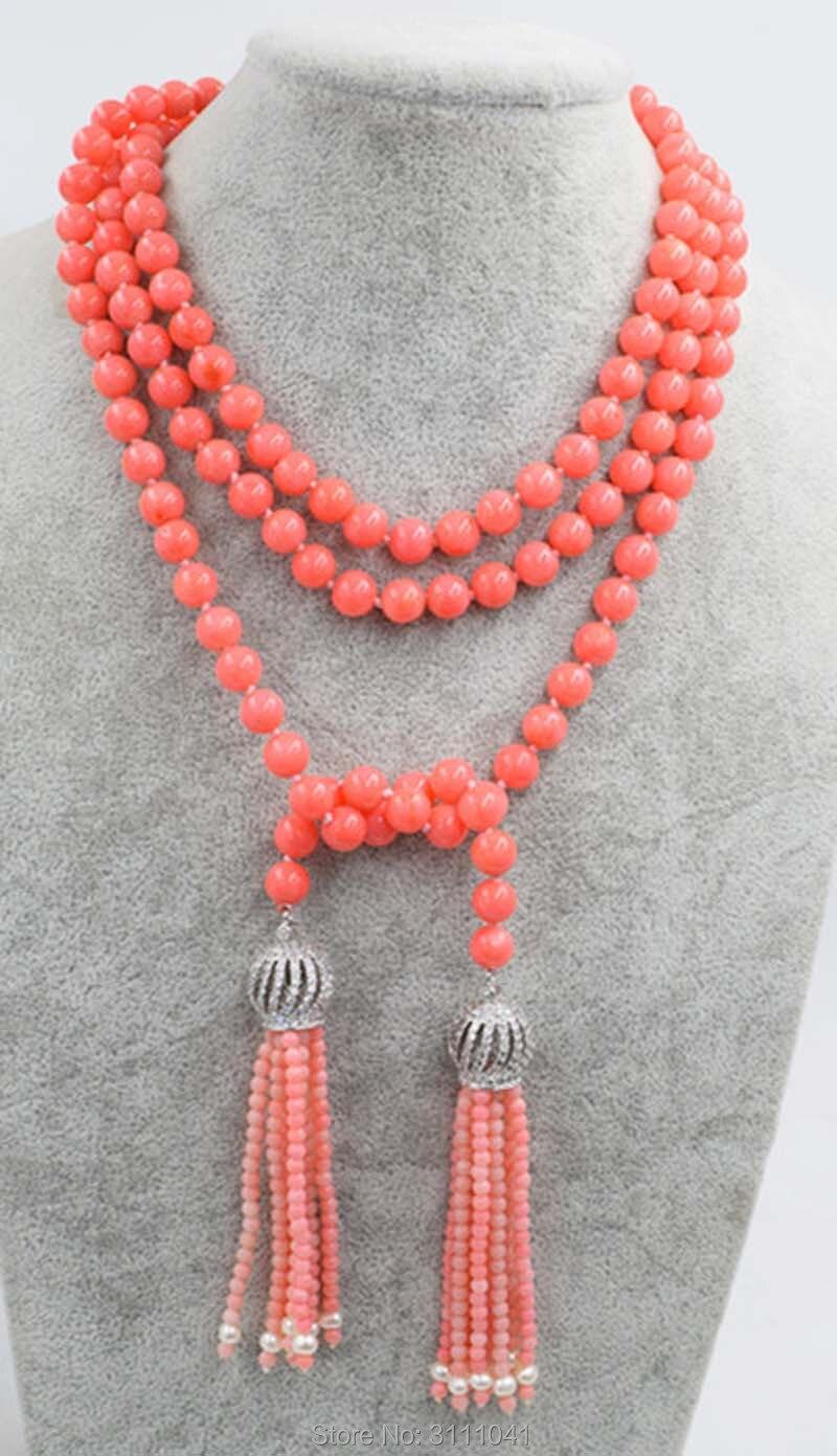 Un ensemble rose corail collier rond + glands boucles d'oreilles 40 pouces en gros perles nature FPPJ femme 2017