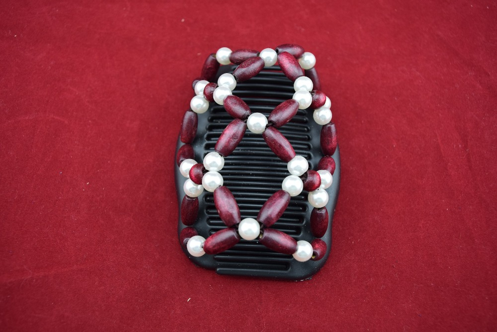 Pearl flower beads Burgundy beads comb 20pcs lot professional work lady hair accessory classical comb hot