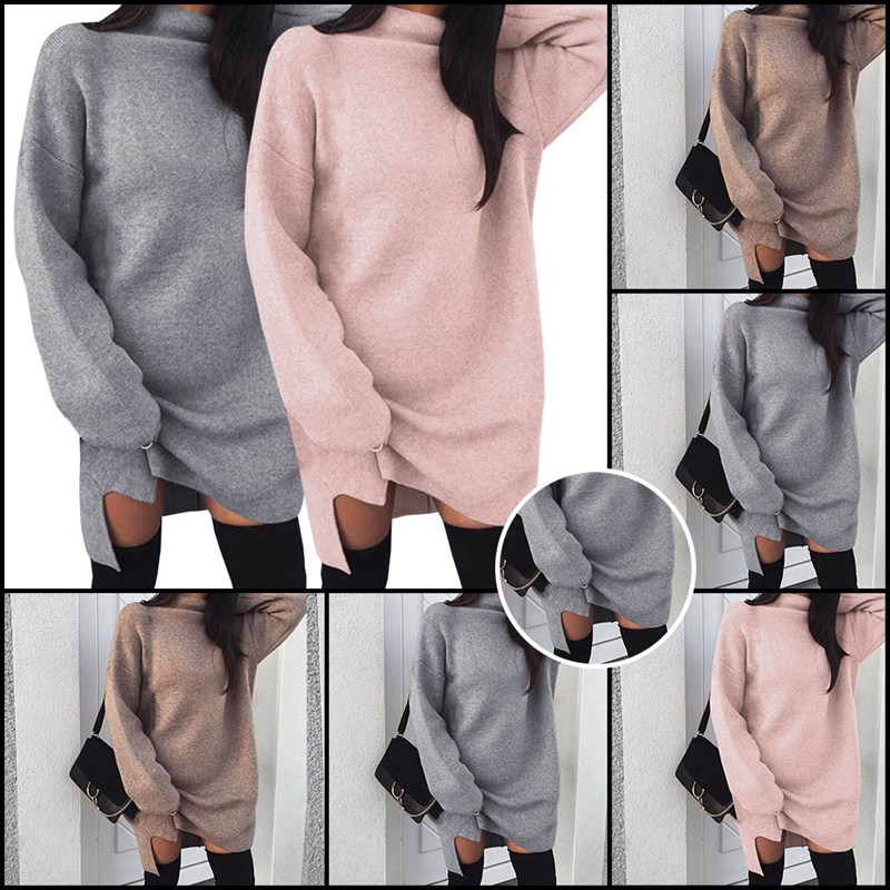 Autumn Winter Knitted Dress Women Turtleneck Long Sleeve Warm Sweater Dress  Casual Solid Loose Mini Dresses 3038f0877adc