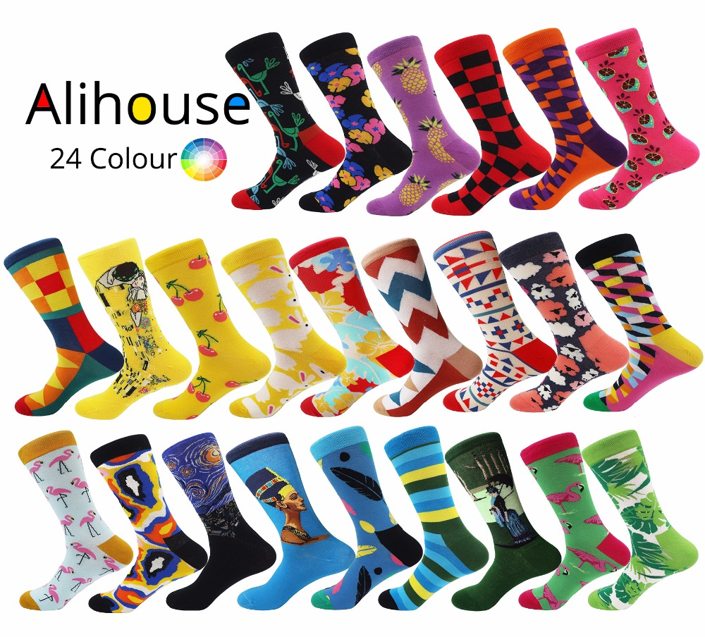 Alihouse Brand Mens Happy Socks colourful Crew Unisex Socks Oil Painting Combed Cotton Socks Dress Wedding Socks harajuku