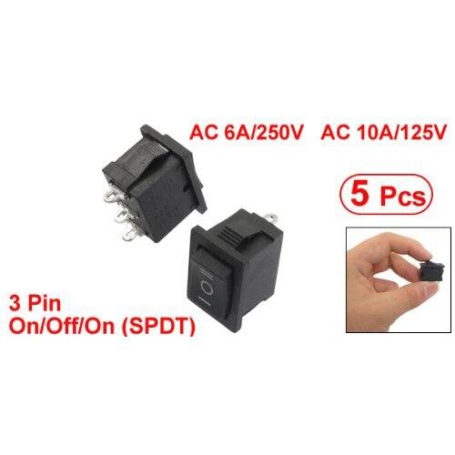MYLB-5 Pcs SPDT On/Off/On Mini Black 3 Pin Rocker Switch AC 6A/250V 10A/125V yellow led on off rocker switch w terminal protector set for electric appliances 2 pcs