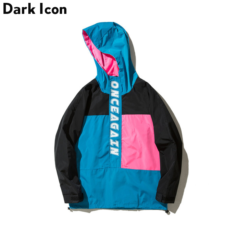 DARKICON Цвет блок тенденции моды Для мужчин куртки осень 2017 г. тонкий Стиль повседневная куртка Для мужчин с капюшоном
