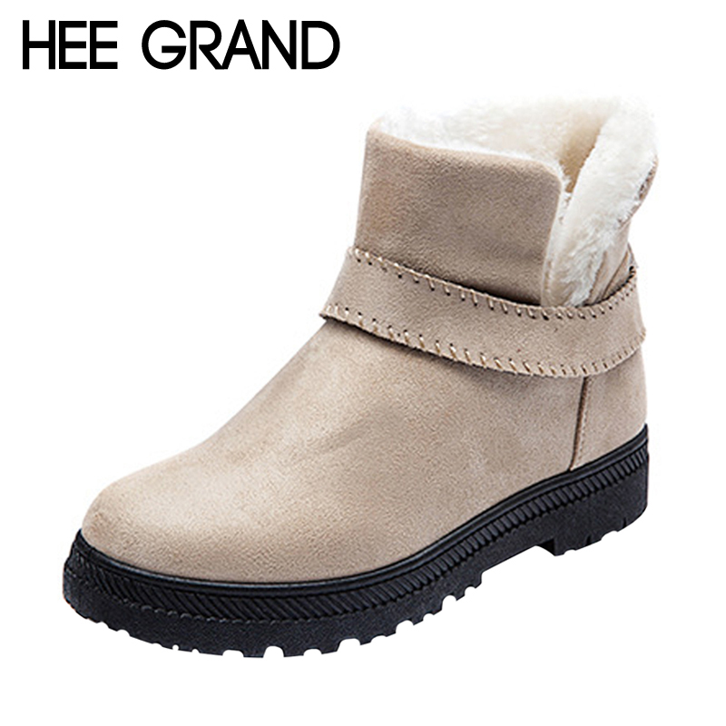 HEE GRAND 2017 Winter Ankle Boots Women Warm Solid Fashion Platform Snow Ankle Boots Shoes Woman Flat with 4 Colors XWX6343 hee grand inner increased winter ankle boots warm fringe fashion platform women snow boots shoes woman creepers 3 colors xwx6180