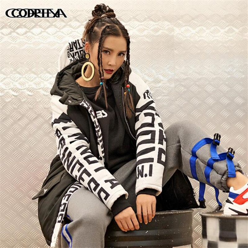 New Winter Women's Hip hop rock Jackets   Parkas   Hooded Long Cotton Padded Jacket High Quality Letter Printing Warm Thick Coats