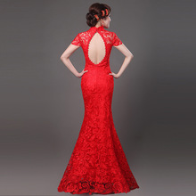 Sexy Cheongsam Red Lace Backless Modern Qipao Dress Chinese Oriental Dresses Traditional Wedding Gowns Long Qi Pao Free Shipping