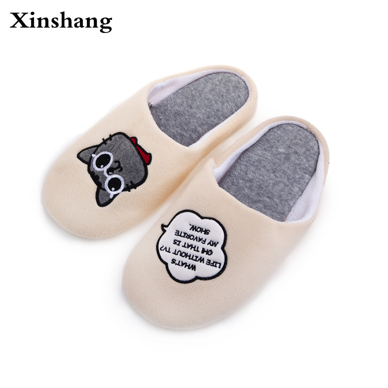 Women Winter Home Slippers Cartoon Cat Home Shoes Non-slip Soft Winter Warm Slippers Indoor Bedroom Loves Couple Floor Shoes plush home slippers women winter indoor shoes couple slippers men waterproof home interior non slip warmth month pu leather