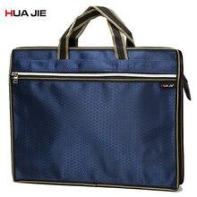 Simple Fashion Big Capacity Document Bag Business Briefcase Blue Portable Zipper Storage Bag File Folders Filing Products EN6636 недорого