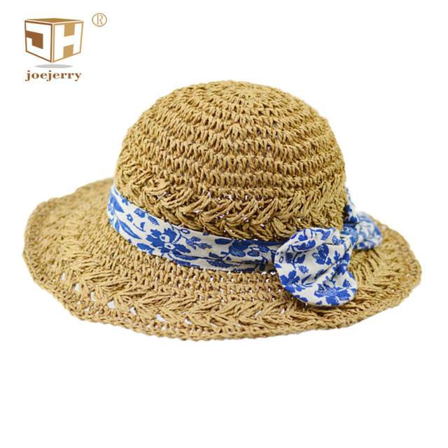 491a9d05288150 joejerry Summer Straw Bucket Hat Blue and White Porcelain Pattern Ladies  Beach Cap Sun Hats For Girls Women Foldable